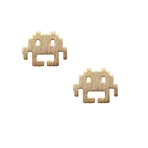 chelseachicNYC Handcrafted Brushed Metal Space Invader Earrings (Gold)]()