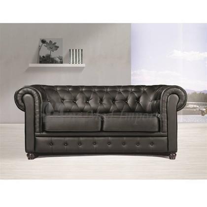 Designer Modern Chestfield Aristocrat Loveseat in Black Leather