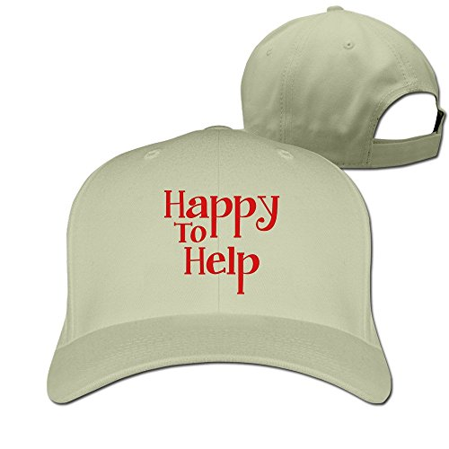 Happy To Help Cotton Baseball Cap Peaked Hat Adjustable For Unisex Natural