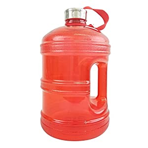 1 Gallon BPA FREE Reusable Plastic Drinking Water Bottle w/ Stainless Steel Cap - Red