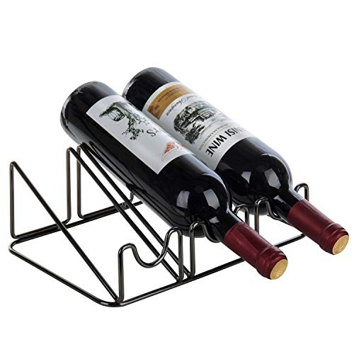 - MyGift Modern Gunmetal Gray Wire Tabletop 3-Bottle Wine Rack
