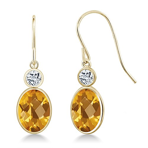 - 2.78 Ct Oval Checkerboard Yellow Citrine White Topaz 14K Yellow Gold Earrings