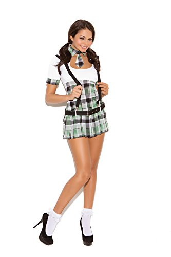 Prep School Adult Co-Ed Sexy Halloween Costume 4pc Set (XL, White/Plaid)