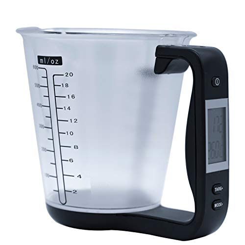 Digital Kitchen Food Scale and Measuring Cup LCD Electronic Scale Kitchen Accessories (Black)