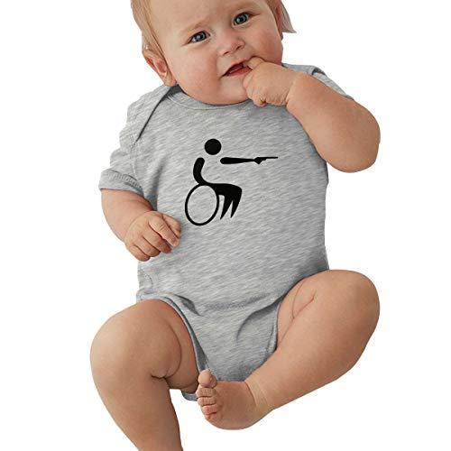 Dejup Unisex Baby Short Sleeve Bodysuits Handicap Gun Wheelchair Funny Summer Boys Girls Onesies Gray -