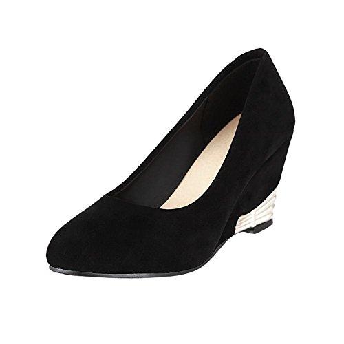 Mee Shoes Damen modern speziell bequem Keilabsatz Nubukleder Geschlossen  runder toe Pumps Schwarz