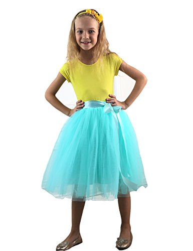 Zcaynger Girls Skirt Tutu Dancing Dress 4-Layer Fluffy With Ribbon, Light Blue, One Size]()