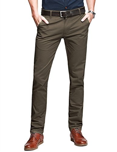 Match Mens Slim-Tapered Flat-Front Casual Pants(8110 Light Brown,38W x 31L)