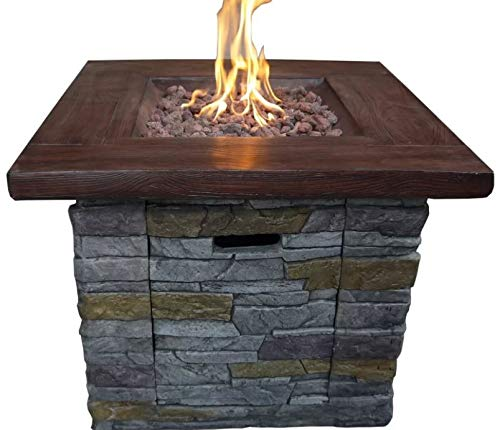 - Jar Outdoor- Firepit Table for Outside-Portable Propane Fire Pit-Cozy Fire Ambiance for Nights Spent at Your Patio-Color Multicolored Magnesium Oxide Stone