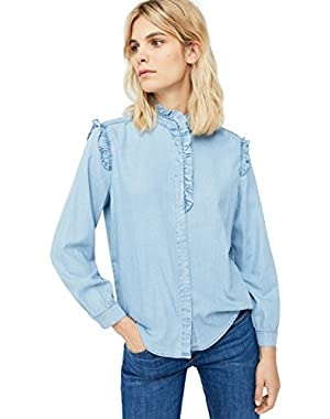 Women's Ruffled Denim Shirt