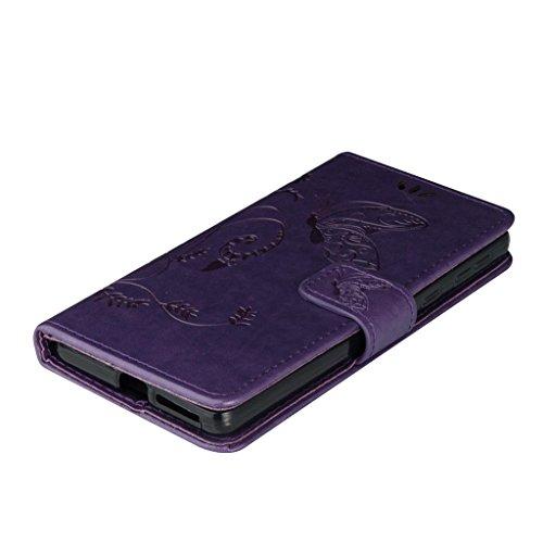 Erdong® Magnético Folio Flip Caso Con pata de cabra titular de la tarjeta Para Sony Xperia E5, Elegant Simple Book-style [Púrpura flor de mariposa] patrón de impresión cuero del soporte Folio Pouch Pr