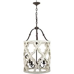 "A&B Home Jolette 4-Light Wood Chandelier 4, 19"" x 33.5"""