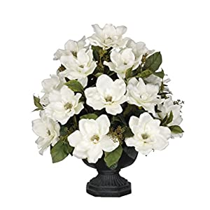 House of Silk Flowers Artificial White Magnolia with Bay Leaves in Black Garden Urn 104