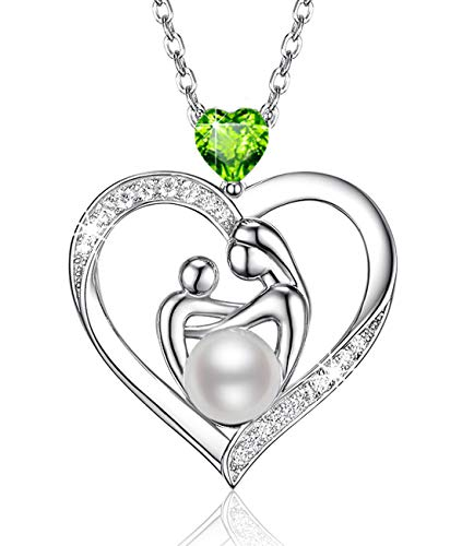 July August Birthstone Ruby Peridot Necklace Birthday Gifts for Mom Women Sterling Silver Pearl Love Heart Mother and Child Jewelry 20 Chain