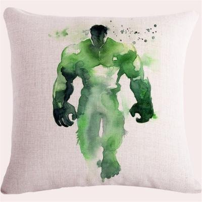 Green Hulk Throw Pillow Case, White Avengers Bruce Banner Cushion Cover Superhero Scientist Monster Strong Angry Watercolor Woven TV Show Movie Animated Comic Book Character, Cotton