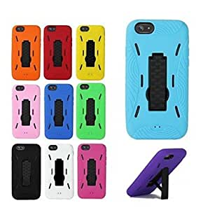 SOL Bracket Design PC and Silicone Hard Back Cover for iPhone 6 (Assorted Colors) , Black