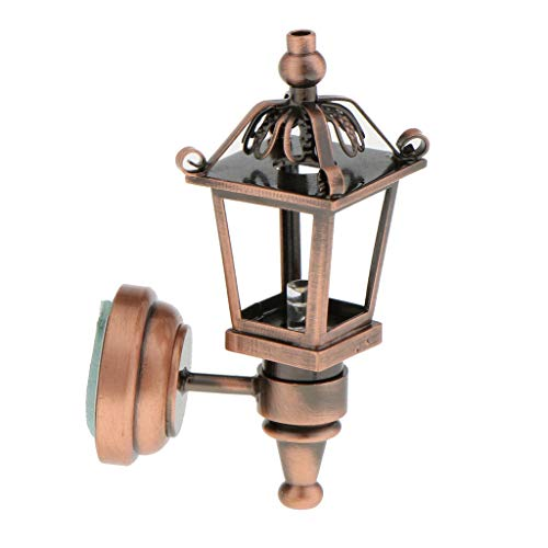 (NATFUR Vintage DIY Accs 1/12 Dollhouse Miniature Wall Light Lamp Bronze Model)