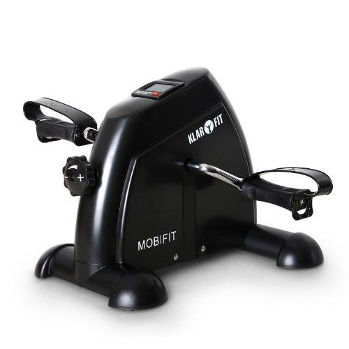 Klarfit 2G Minibike Arm- und Beintrainer Heimtrainer (2kg Schwungmassensystem, stufenlos einstellbarer Widerstand, Trainingscomputer mit LCD-Display, belastbar bis 100kg) schwarz