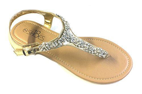 9fe0cc414 Womens T Strap Gladiator Sandals Flats shoes W Iridescent Rhinestones - Buy  Online in Oman.