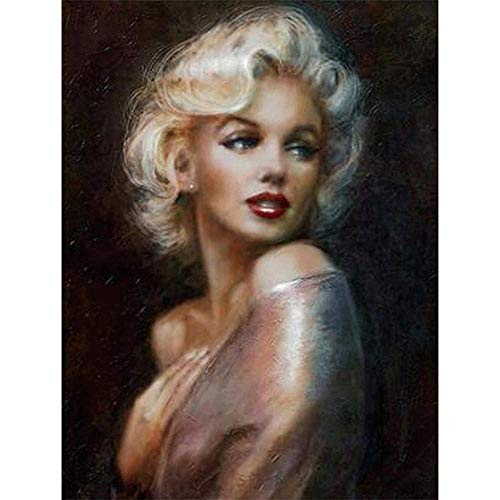 YOMIA 5D Cross Stitch Patterns DIY Diamond Painting by Number Kits - Mosaics Marilyn Monroe Crystal Rhinestone Diamond Painting Full Drill Embroidery Needlepoint Kits -