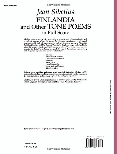 Finlandia And Other Tone Poems In Full Score Dover Music Scores Buy Online In Dominica At Dominica Desertcart Com Productid 4622935