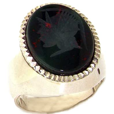 Solid 925 Sterling Silver Large Natural Intaglio Centurions Head Bloodstone Mens Signet Ring - Sizes 8 to 15