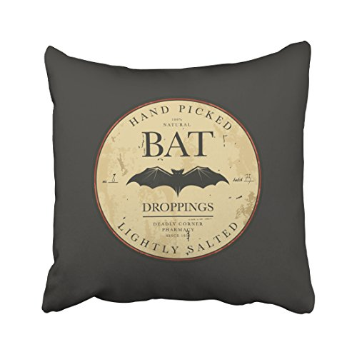 Accrocn Bat Droppings Vintage Halloween Label Throw Pillow Covers Cushion Cover Case 20x20 Inches Pillowcases One (Halloween Dropping Bat With Wings)