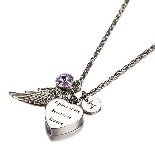 KnSam Jewelry A Piece of My Heart in Heaven Stainless Steel Heart Urn Necklace with Angel Wing, 26 Letters & 12 Birthstones Ashes Pendant Memorial Necklace- June X
