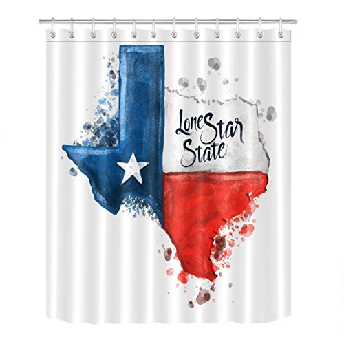 LB Watercolor Lone Star State Flag Unique Shower Curtain by, American West Texas Theme Bathroom Decorations, 70x70 Inch Fabric Shower Curtain Waterproof Anti Mold -