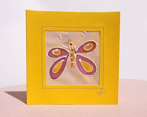 Yellow Butterfly card,Paintings on Silk-Batik,Personalised Butterfly Card,Butterfly Mother's Day Card,Spring Butterfly Card,Butterfly Gift,Card Garden.