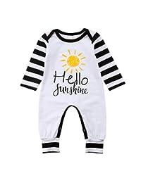 rechange Baby-Boys' Long Sleeve Cotton Bodysuit Hello Sunshine Letter Print Sun Pattern Jumpsuit Playsuit