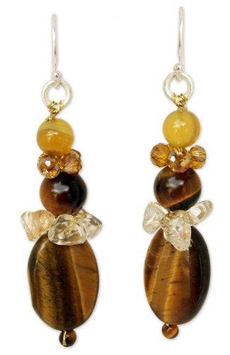 NOVICA Multi-Gem tiger-eye .925 Sterling Silver Glass Beaded Earrings 'Earth's Harmony'