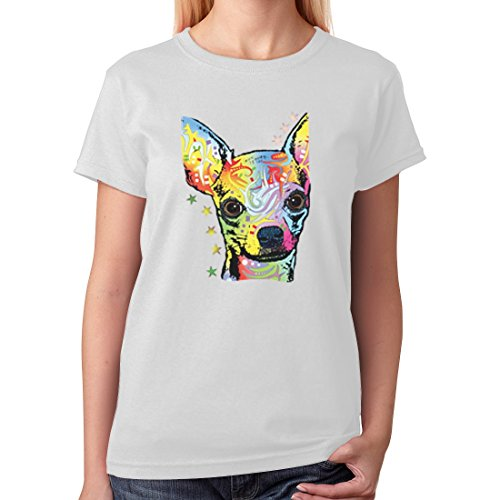 Gift Dog Lover - Rainbow Chihuahua Colorful Graphic Women T-Shirt X-Large White