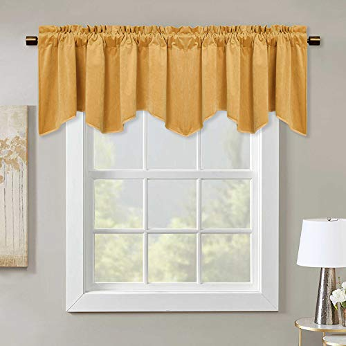 Orange Yellow Velvet Window Valance - Home Fashion Rod Pocket Scalloped Valance Light Blocking Half Curtain Tiers Thermal Insulated Energy Saving Drapes for Guest Room/Hall, 52