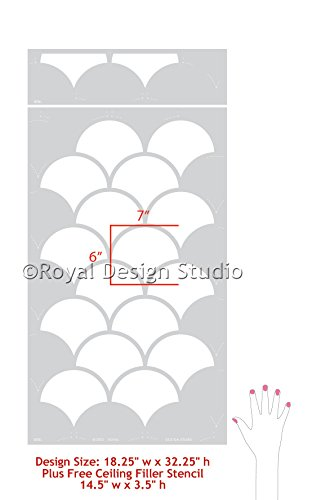Royal Design Studio Stencils Large Moroccan Scallops Wall Stencil with Modern Fish Scales Wallpaper Look