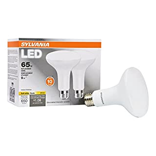 SYLVANIA General Lighting 73954 Sylvania Dimmable Led Lamp, 9 W, 120 V, Br30, Medium, 11000 Hr, Base, Efficient 9W, 2700K, Soft White, 2 Piece