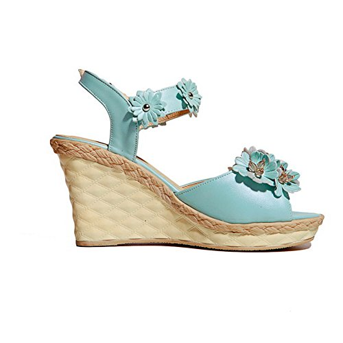 Leather Open Soft Womens Heels Blue High Sandals Solid Toe AmoonyFashion Buckle nESIIxq
