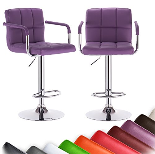 WOLTU ABSX1003pur Bar Stool Swivel Purple Bonded Leather Adjustable Hydraulic Barstools Work Stools Kitchen Stools, Set of 2