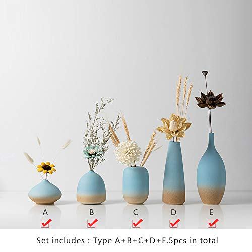 Blue Sea Sandy Ceramic Vase Pottery Porcelain Ornaments Home Decoration Decorative Flower Sculptures Gifts Artistic for Bedroom Living Room (Set of 5 pcs:Type A+B+C+D+E(Decor Flowers Included))