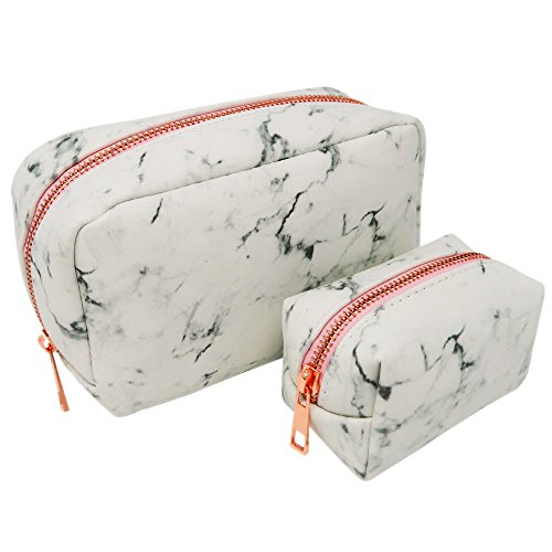 Marble Makeup Bag - 2 piece set white Cosmetic bags with metal rose gold zippers By E LUXE