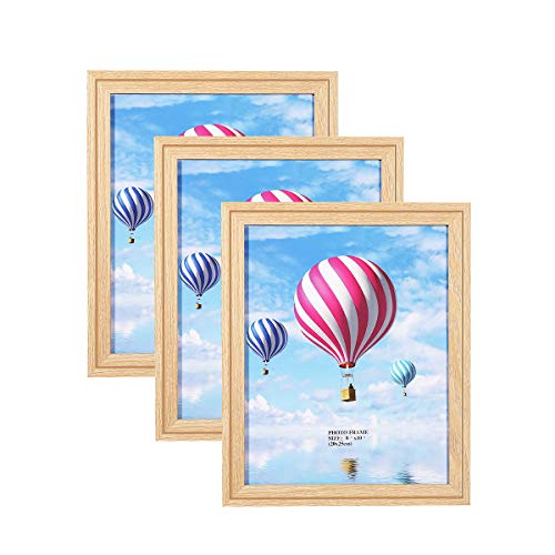 Metrekey 8x10 Picture Frame (3 Pack, Oak Wood Finish), Photo Frame 8x10,for Table Top Display and Wall mounting Photo Frame (Grain Frame)