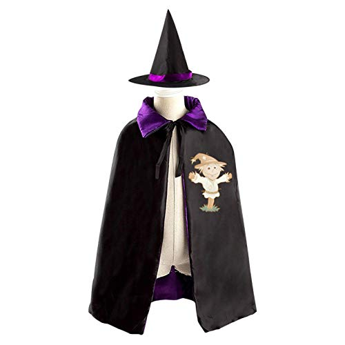 (69PF-1 Halloween Cape Matching Witch Hat Smile Scarecrow Wizard Cloak Masquerade Cosplay Custume Robe Kids/Boy/Girl Gift)