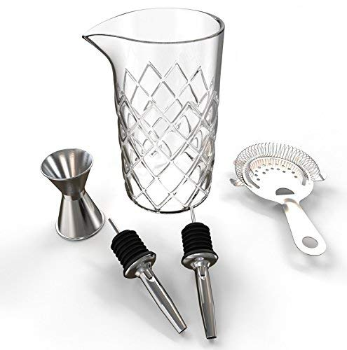 Professional Cocktail Mixing Glass Set (17 Ounce) - Yarai Mixing Glass - Includes Strainer, Jigger, 2 Bottle Pourer Spouts - Heavy Duty Bar Mixing Glass