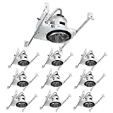 TORCHSTAR 4 Inch New Construction Recessed Housing, IC Rated Air Tight Ceiling Downlight Can with Junction Box, E26 Screw Base, UL-Listed, Aluminum, Pack of 10