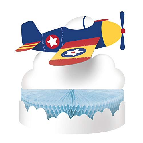 Creative Converting Lil' Flyer Airplane Paper Honeycomb Centerpiece Table Decoration, Multicolor ()