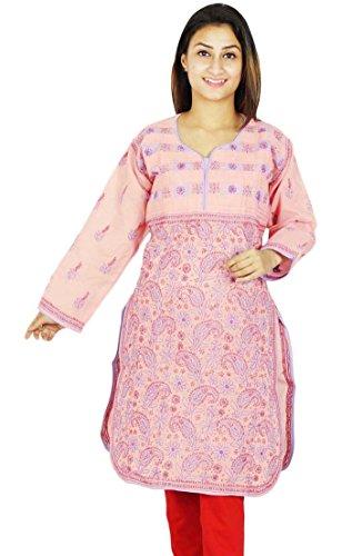 Bollywood Indian Chikan Mujeres bordado vestido de la túnica étnico Kurti algodón Melocotón y púrpura Luz