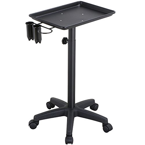 Professional Salon Trolley Aluminum Trolley Hair Instrument Tray Caddy Black + FREE E - - Shape For Your App Face Glasses