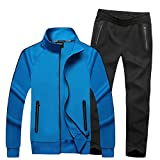 TOP Fighting Men's Classic Striped Winter Tracksuit Running Joggers Sports Warm Sweatsuit Big (Blue/X-Large)