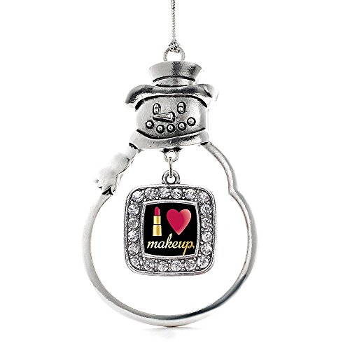 Inspired Silver I Love Makeup Classic Snowman Holiday Christmas Tree Ornament With Crystal (Snowman Make Up)
