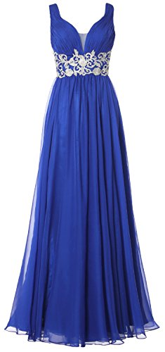 MACloth Women Straps V Neck Long Prom Dress Vintage Wedding Party Formal Gown Azul Real
